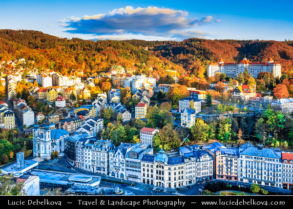 Europe - Czech Republic - Czechia - Karlovy Vary - Carlsbad - Karlsbad - Spa town on confluence of rivers Ohře & Teplá, named after Charles IV, Holy Roman Emperor & King of Bohemia, who founded city in 1370 - Historically famous for its hot springs (13 main springs, about 300 smaller springs) - Aerial view of historical cityscape along Horka River