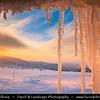 Europe - Czech Republic - Czechia - Krkonošský národní park - Krkonoše Mountains National Park - KRNAP - KPN - Giant Mountains - Frozen Winter Wonderland - Spectacular landscape under fresh deep snow cover - Large icicles during Sunrise