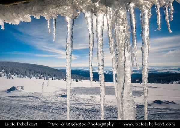 Europe - Czech Republic - Czechia - Krkonošský národní park - Krkonoše Mountains National Park - KRNAP - KPN - Giant Mountains - Frozen Winter Wonderland - Spectacular landscape under fresh deep snow cover - Large icicles