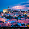 Europe - Czech Republic - Czechia - Jižní Morava - South Moravia - Mikulov - Historical town with Mikulov Castle, Baroque chateau built atop rock dominanting Mikulov skyline for centuries - Twilight - Blue Hour - Night