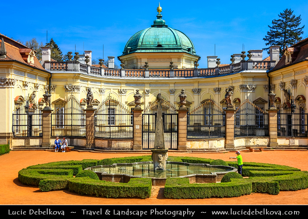Europe - Czech Republic - Czechia - Jižní Morava - South Moravia - Statní zámek Buchlovice - Buchlovice castle - Château complex in refined architectural style of Italian baroque villa in valley under Buchlov surrounded by English garden with many rare plants