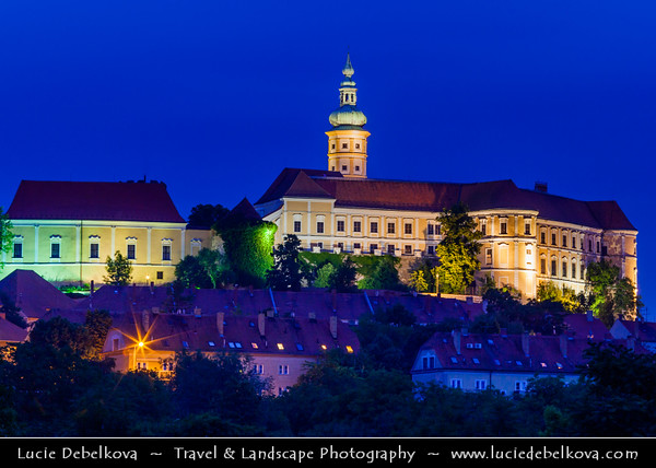 Europe - Czech Republic - Jižní Morava - South Moravia - Mikulov - Historical town with Mikulov Castle, Baroque chateau built atop a rock dominanting Mikulov skyline for centuries at Dusk - Twilight - Blue Hour - Night