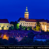 Europe - Czech Republic - Jižní Morava - South Moravia - Mikulov - Historical town with Mikulov Castle, Baroque chateau built atop a rock dominanting Mikulov skyline for centuries at Dusk - Twilight - Blue Hour - Night