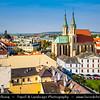 Europe - Czech Republic - Czechia - Jižní Morava - South Moravia - Kroměříž - Historical town famous for spectacular gardens - UNESCO World Heritage Site - Town cityscape with Kapitulní Kostel svatého Mořice - Church of St. Moritz