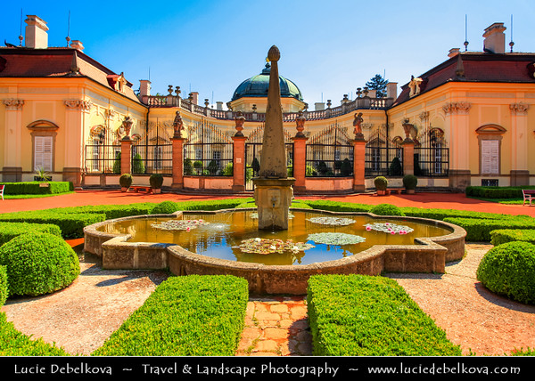 Europe - Czech Republic - Jižní Morava - South Moravia - Statní zámek Buchlovice - Buchlovice castle - Château complex in refined architectural style of Italian baroque villa in the valley under the Buchlov surrounded by english garden with many rare plants