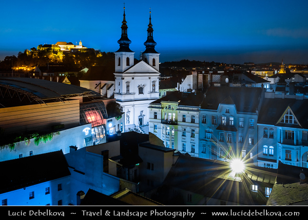 Europe - Czech Republic - Czechia - Jižní Morava - South Moravia - Brno - Historical Old Town - View towards St. Michael Church - Kostel svatého Michala & Špilberk Castle - Hrad Špilberk at Dusk - Twilight - Blue Hour - Night