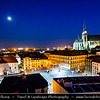 Europe - Czech Republic - Czechia - Jižní Morava - South Moravia - Brno - Historical Old Town - View at Peter and Paul Cathedral & Vegetable Market (Zelný trh) Main town Square at Dusk - Twilight - Blue Hour - Night