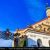 Europe - Czech Republic - Czechia - Jižní Morava - South Moravia - Mikulov - Historical town with Mikulov Castle, Baroque chateau built atop rock dominanting Mikulov skyline for centuries