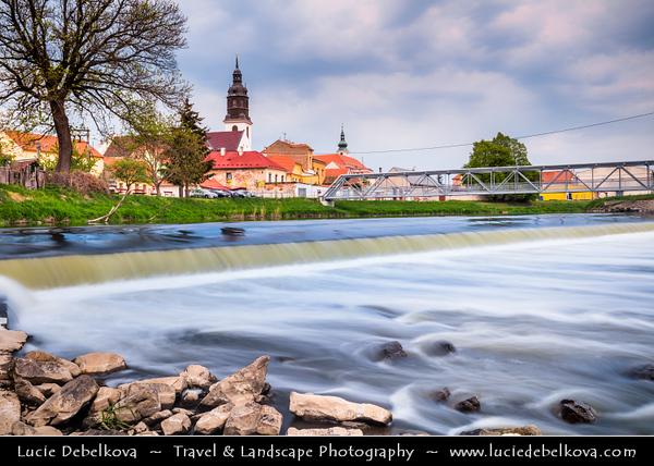 Europe - Czech Republic - Czechia - Jižní Morava - South Moravia - Uherský Ostroh - Baťův kanál - Bata Canal - Navigable canal on Morava river built during 1934-38 with town church in backdrop