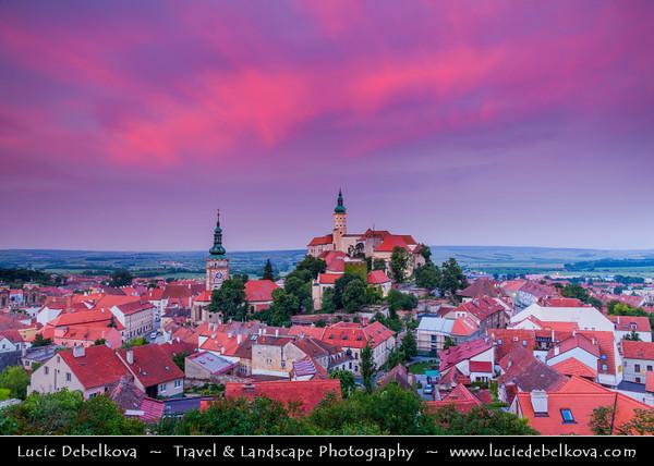 Europe - Czech Republic - Jižní Morava - South Moravia - Mikulov - Historical town with Mikulov Castle, Baroque chateau built atop a rock dominanting Mikulov skyline for centuries