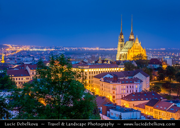 Europe - Czech Republic - Moravia - Brno - Capital of the South Moravian Region - View at Peter and Paul Cathedral in Petrov at Dusk - Twilight - Blue Hour - Night