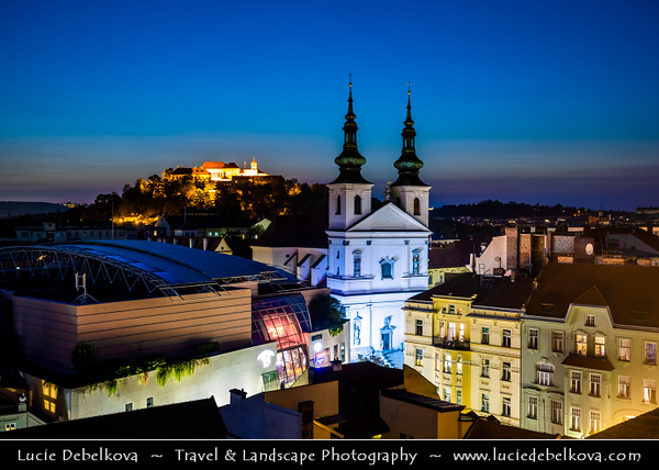 Europe - Czech Republic - Czechia - Jižní Morava - South Moravia - Brno - Historical Old Town - View towards St. Michael Church - Kostel svatého Michala & Špilberk Castle - Hrad Špilberk at Dusk - Twilight - Blue Hour - Night