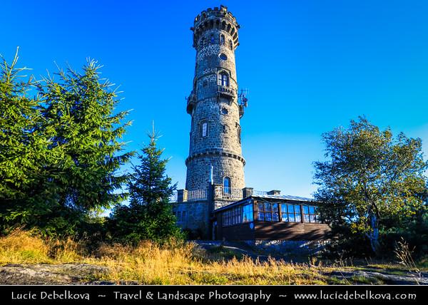 Europe - Czech Republic - Čechy - Bohemia - Ústí nad Labem Region - Děčín District - Děčínský Sněžník - Hoher Schneeberg - Highest peak in Elbe Sandstone Mountains at 722.8 m above sea level - Děčínský Sněžník Rozhledna - Historical 33m high stone watchtower built in 1864