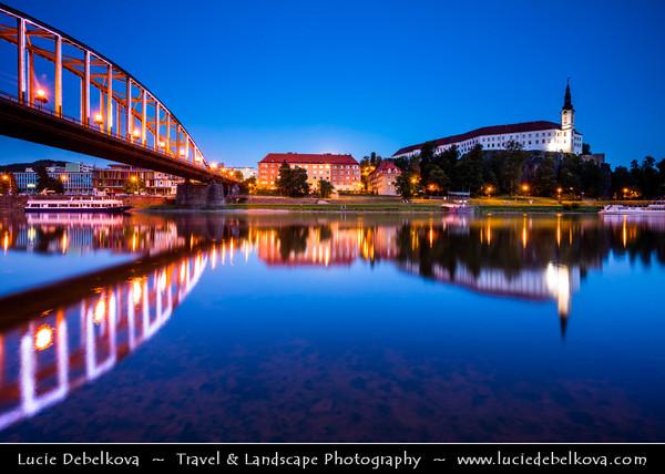 Europe - Czech Republic - Bohemia - Čechy - Ústí nad Labem Region - Děčín - Děčín Castle - Built on a hill near the town centre and overlooking the Labe river - Most popular tourist attraction in the town at Dusk - Twilight - Blue Hour