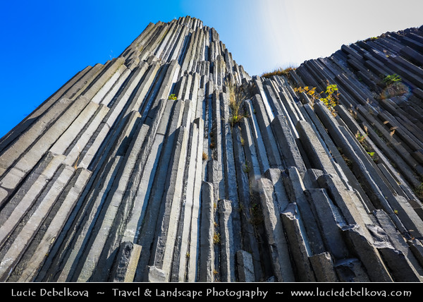 Europe - Czech Republic - Bohemia - Čechy - Liberecký kraj - Liberec Region - Kamenický Šenov - Panská skála - Remains of old volcano - Basalt Columns of lava which crystallized inside vent of volcano 25 million years ago - Attractive & popular geological site - Stone organ pipes