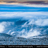 Europe - Czech Republic - Czechia - Cechy - Lužické hory - Lužické mountains - Ještěd Mountain - 1012 m above sea level - View from mountain top over the winter landscape covered in snow and mist