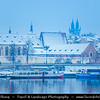 Europe - Czech Republic - Bohemia - Prague - Praha - Historical Centre - Prague Old Town - Staré Město Pražské - UNESCO World Heritage Site - City Skyline along banks of Vltava River during winter under fresh cover of snow