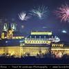 Europe - Czech Republic - Bohemia - Prague - Praha - Historical Centre - Prague Old Town - Staré Město Pražské - UNESCO World Heritage Site - Cityscape under New Year's Firework display