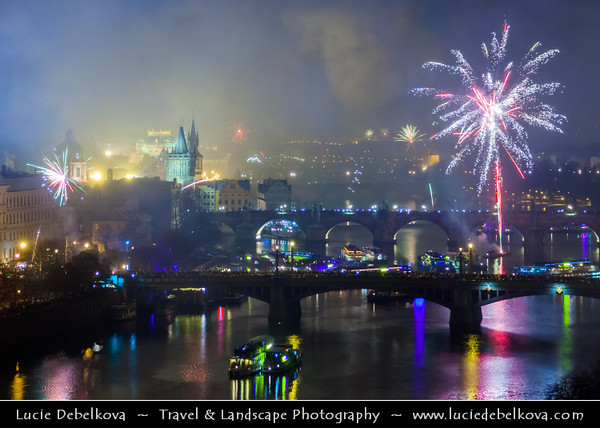 Europe - Czech Republic - Bohemia - Prague - Praha - Historical Centre - Prague Old Town - Staré Město Pražské - UNESCO World Heritage Site - Bridges over the Vltava river at Night during New Year's Firework display