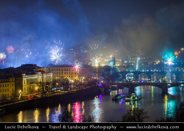Europe - Czech Republic - Bohemia - Prague - Praha - Historical Centre - Prague Old Town - Staré Město Pražské - UNESCO World Heritage Site - Bridges over the Vltava river at Night during New Year's Firework display