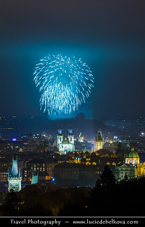 Europe - Czech Republic - Bohemia - Prague - Praha - Historical Centre - Prague Old Town - Staré Město Pražské - UNESCO World Heritage Site - Tynsky Chram & Prague Towers at night during New Year's Firework display