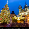 Europe - Czech Republic - Cechy - Prague - Praha - Capital City - Hlavni Mesto - UNESCO - Historical Center - Traditional Christmas Markets at Old Town Square - Staroměstském náměstí at Dusk - Twilight - Blue Hour
