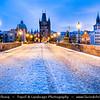 Europe - Czech Republic - Czechia - Bohemia - Čechy - Prague - Praha - Historical Centre - Prague Old Town - Staré Město Pražské - UNESCO World Heritage Site - Charles bridges - Karlův Most - One of the most iconic Prague locations over Vltava - Moldau River - During winter time under snow