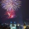 Europe - Czech Republic - Bohemia - Prague - Praha - Historical Centre - Prague Old Town - Staré Město Pražské - UNESCO World Heritage Site - Tynsky Chram & Prague Towers at night during New Year's Firework display