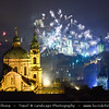 Europe - Czech Republic - Bohemia - Prague - Praha - Historical Centre - Prague Old Town - Staré Město Pražské - UNESCO World Heritage Site - Prague Towers at night during New Year's Firework display