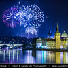 Europe - Czech Republic - Bohemia - Prague - Praha - Historical Centre - Prague Old Town - Staré Město Pražské - UNESCO World Heritage Site - Charles bridges - Karlův Most - One of the most iconic Prague locations over Vltava River & Lavka Towers - New Year's Firework display