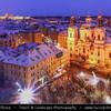 Europe - Czech Republic - Bohemia - Prague - Praha - Historical Centre - Prague Old Town - Staré Město Pražské - UNESCO World Heritage Site - Old Town Square - Staroměstské náměstí - Christmas Markets under cover of snow - Vánoční trhy at Dusk - Blue Hour - Twilight - Night