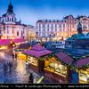 Europe - Czech Republic - Cechy - Prague - Praha - Capital City - Hlavni Mesto - UNESCO - Historical Center - Traditional Christmas Markets at Old Town Square - Staroměstském náměstí at Dusk - Twilight - Blue Hour