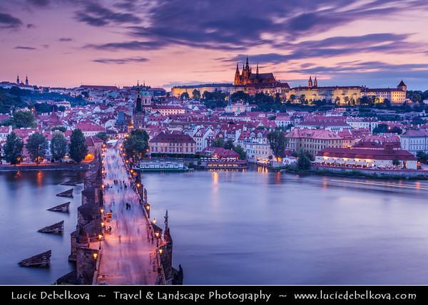 Czech Republic - Prague - Praha - Capital City - Hlavni Mesto - View over the Vltava River, Charles Bridge and Prague Castle - Pražský hrad -