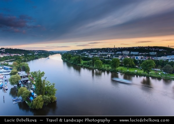 Czech Republic - Prague - Praha - Capital City - Hlavni Mesto - Dusk over Vltava River and Prague Cityscape from Vysehrad