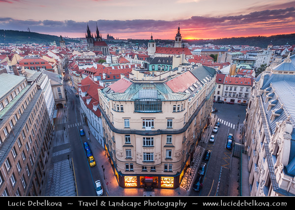Czech Republic - Prague - Praha - Capital City - Hlavni Mesto - Evening View of Old Town from the Powder Tower - Prašná brána - Powder Gate