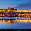 Europe - Czech Republic - Bohemia - Prague - Praha - Historical Centre - Prague Old Town - Staré Město Pražské - UNESCO World Heritage Site - Prague Castle - Pražský hrad & Charles bridges - Karlův Most from shore of Vltava River - Moldau