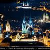 Europe - Czech Republic - Czechia - Bohemia - Čechy - Prague - Praha - Historical Centre - Prague Old Town - Staré Město Pražské - UNESCO World Heritage Site - City Skyline with Týnský chrám - Kostel Matky Boží před Týnem - Church of Mother of God before Týn - Church of Our Lady before Týn - Dominant feature of the Old Town, Main church of this part of the city since 14th century - Dusk - Twilight - Blue Hour - Night