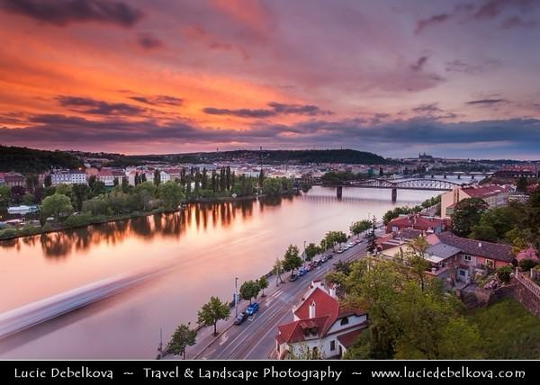 Czech Republic - Prague - Praha - Capital City - Hlavni Mesto - Dusk over Vltava River and Prague Cityscape from Vysehrad