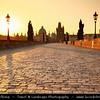 Europe - Czech Republic - Bohemia - Prague - Praha - Historical Centre - Prague Old Town - Staré Město Pražské - UNESCO World Heritage Site - Charles bridges - Karlův Most - One of the most iconic Prague locations over Vltava River at Sunrise