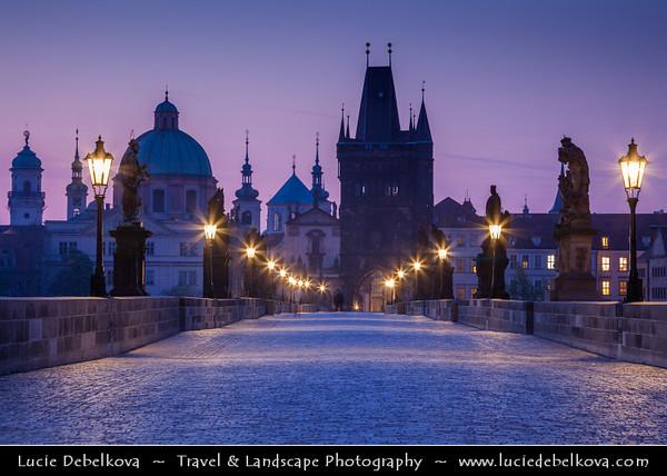 Europe - Czech Republic - Bohemia - Prague - Praha - Historical Centre - Prague Old Town - Staré Město Pražské - UNESCO World Heritage Site - Charles bridges - Karlův Most - One of the most iconic Prague locations over Vltava River at Dusk