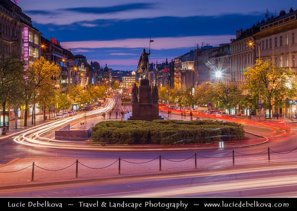 Europe - Czech Republic - Bohemia - Prague - Praha -  New Town - Historical Centre - Wenceslas Square - Václavské náměstí - Václavák -  One of the main city squares named after Saint Wenceslas, the patron saint of Bohemia at Dusk - Twilight - Blue Hour - Night