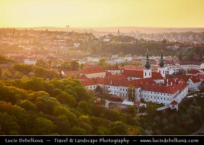 Czech Republic - Prague - Praha - Capital City - Sunset over Historical City Center & Strahov Monastery / Strahovský klášter