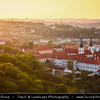 Czech Republic - Prague - Praha - Capital City - Sunset over Historical City Center & Strahov Monastery / Strahovský klášter