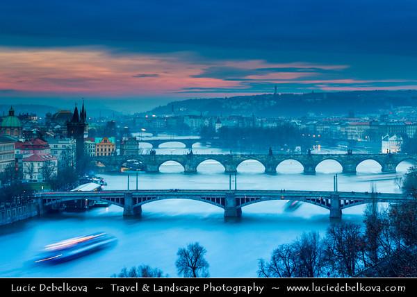 Europe - Czech Republic - Bohemia - Prague - Praha - Historical Centre - Prague Old Town - Staré Město Pražské - UNESCO World Heritage Site - Bridges over the Vltava river at Dusk - Blue Hour - Twilight - Night