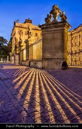 Europe - Czech Republic - Bohemia - Prague - Praha - Historical Centre - Prague Old Town - Staré Město Pražské - UNESCO World Heritage Site - Prague Castle - Pražský hrad -  Matthias' Gate - Matyasova brana at Dusk - Twilight - Blue Hour - Night