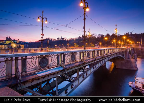 Europe - Czech Republic - Cechy - Prague - Praha - Capital City - Historical Center - Cityscape along Vltava river around Čechův most - Svatopluk Čech Bridge at Dusk - Blue Hour - Twilight - Night