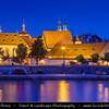 Europe - Czech Republic - Bohemia - Prague - Praha - Historical Centre - Prague Old Town - Staré Město Pražské - UNESCO World Heritage Site - Cityscape along river Vltava - Moldau at Dusk - Twilight - Blue Hour - Night
