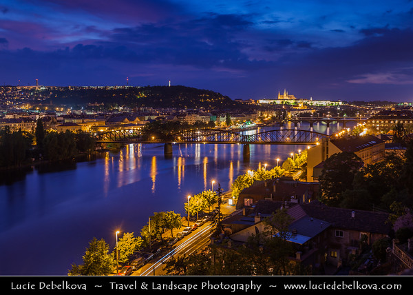 Czech Republic - Prague - Praha - Capital City - Hlavni Mesto - Vltava River and Prague Cityscape from Vysehrad at Dusk - Blue Hour - Twilight - Night