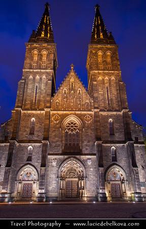 Czech Republic - Prague - Praha - Capital City - Hlavni Mesto - Dusk over Church at Vysehrad