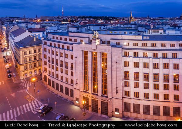 Czech Republic - Prague - Praha - Capital City - Hlavni Mesto - Dusk over Main Building of Czech National Bank - Ceska Narodni Banka
